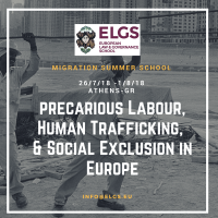 2018 MIGRATION SUMMER SCHOOL (MIGSS) MIGRATION ON PRECARIOUS LABOUR, HUMAN TRAFFICKING, & SOCIAL EXCLUSION IN EUROPE (JULY 26-AUGUST 1, 2018), EPLO PREMISES IN SOUNION, GREECE